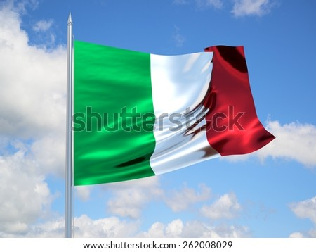 Italy 3d flag floating in the wind with a blue sky in the background