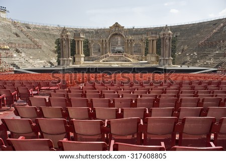 Italy. Veronese amphitheater (Arena di Verona). It is the antique amphitheater, the third by the size constructed during an era of Ancient Rome, and one of the most well remained. - stock photo