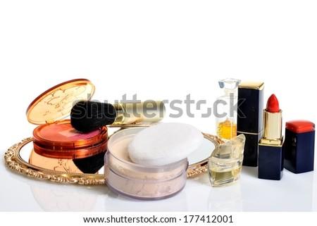 Items decorative cosmetics, perfumes, jewelry - stock photo