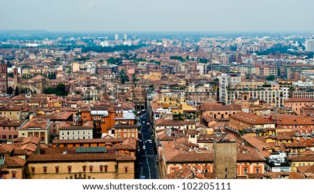 ??ityscape of Bologna from Asinelli Tower. - stock photo