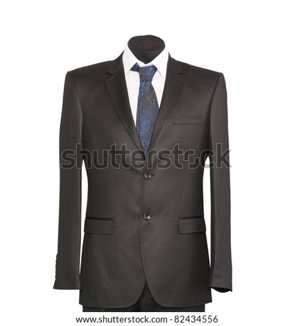 jacket and tie on a white background - stock photo