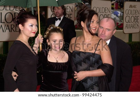 23JAN2000:  Pop star PHIL COLLINS & wife ORIANNE & daughters at the Golden Globe Awards in Beverly Hills.  Paul Smith / Featureflash