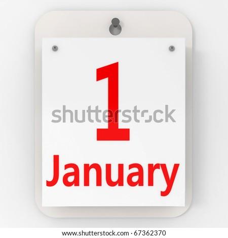 1 January - 3d illustration - stock photo