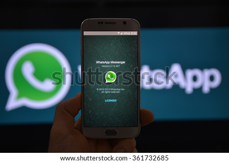 11 January 2016, Istanbul - Turkey: WhatsApp Messenger is a proprietary, cross-platform instant messaging subscription service for smartphones with Internet access founded in 2009. - stock photo