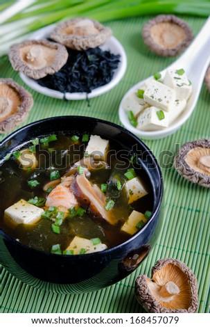 Japanese Food-Miso soup - stock photo