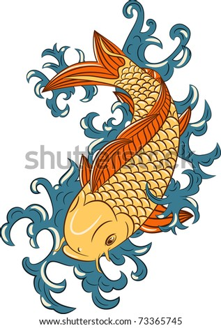 japanese style koi  (carp fish), hand drawn