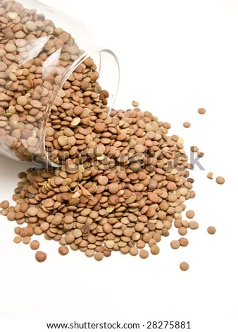 jar with lentils - stock photo