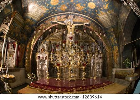Jerusalem.Golgotha.Jesus on the Cross. - stock photo