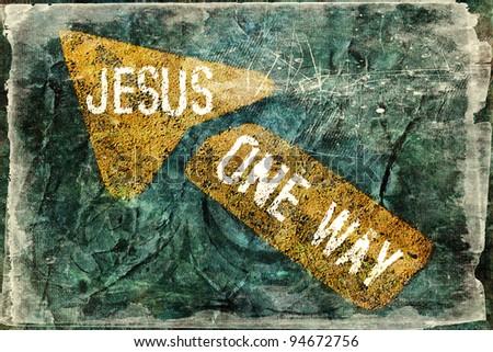 """JESUS ONE WAY"" Religious Background - stock photo"