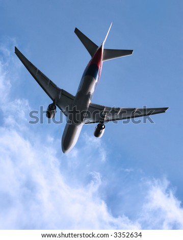 jet taking off, View from below.