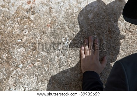 Jew praying at the Western Wall in Jerusalem.