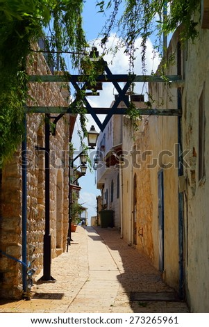 Jewish religious quarter in Safed, Upper Galilee, Israel - stock photo