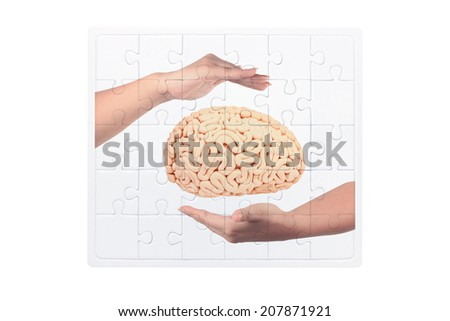 jigsaw concept of woman hand holding human brain isolate on white background with clipping path  - stock photo