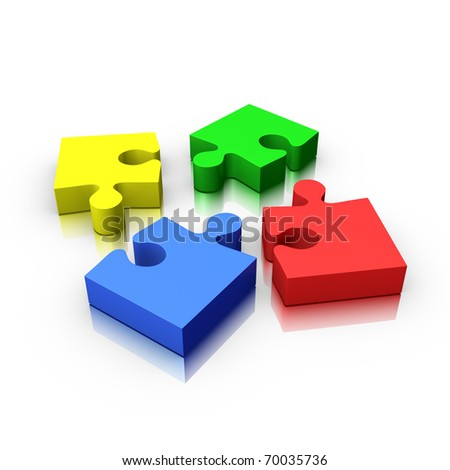 4 jigsaw puzzle pieces incomplete isolated on white (red yellow green and blue)