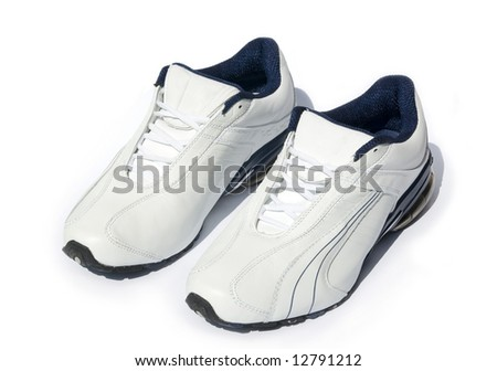 jogging shoes on white - stock photo