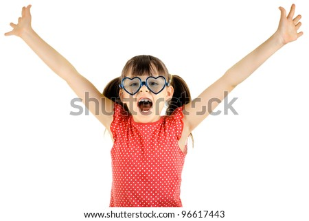joyful beautiful little girl ,  merry  cry, on white background, isolated, hand up - stock photo