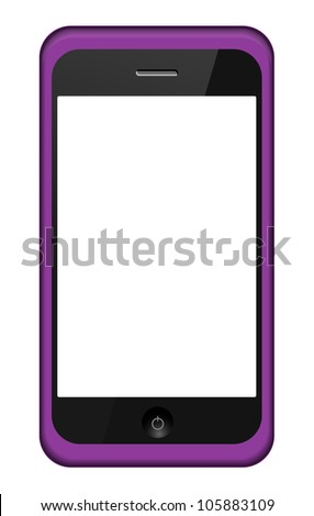 Jpeg version. smartphone in a pink  cover isolated on white - stock photo