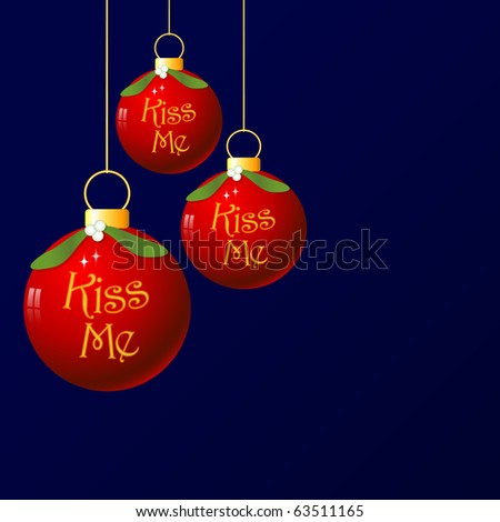 (Jpg) A fun christmas bauble with mistletoe decoration. As it's traditional to kiss under the mistletoe, I added the words 'Kiss Me'. - stock photo