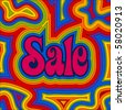 (Jpg) Late 60s retro Sale design with psychedelic rainbow offset swirls. (A vector eps10 version is also available) - stock photo