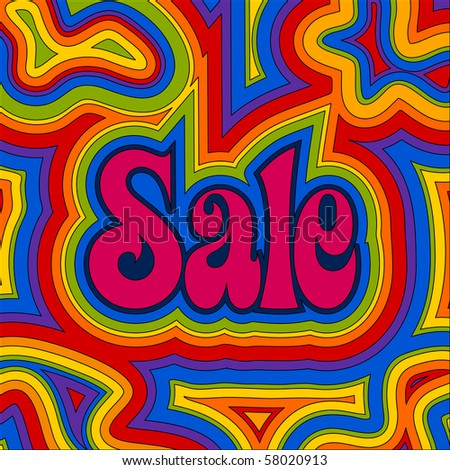 (Jpg) Late 60s retro Sale design with psychedelic rainbow offset swirls. (A vector eps10 version is also available)
