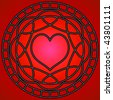 (Jpg) Red heart and metallic swirly patterns in a circle.