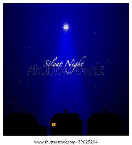 (Jpg) Silent night in suburban setting. All asleep except one person with candlelight - Hope and Peace. - stock photo