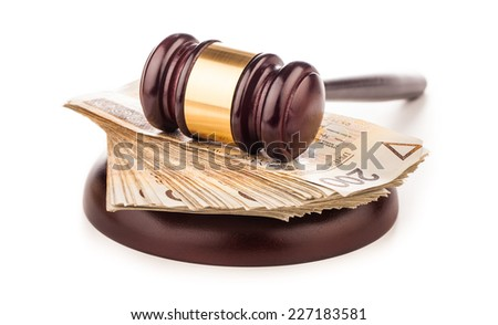 judge gavel and polish money isolated on white