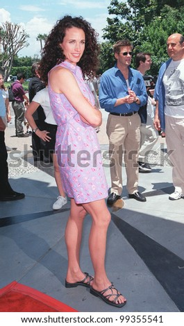 "11JUL99:  Actress ANDIE McDOWELL arriving at Sony Pictures Studios, Culver City, for the world premiere of ""Muppets From Space"" in which she stars.  Paul Smith / Featureflash - stock photo"