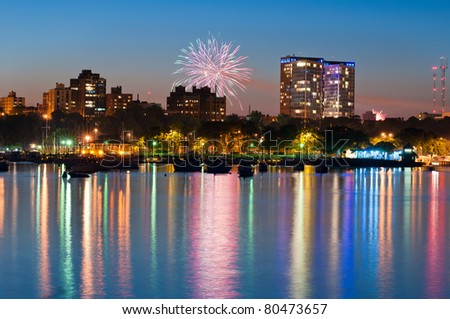 4. july fireworks city and harbor - stock photo