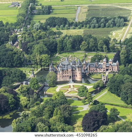 7 July 2016, Haarzuilens, Holland. Aerial view of castle THE HAAR in the provence of Utrecht with it's beautiful gardens. The castle has been renovated in the past few years.