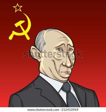 JULY 13, 2014: illustration of Russian president Putin on Soviet flag background - stock photo
