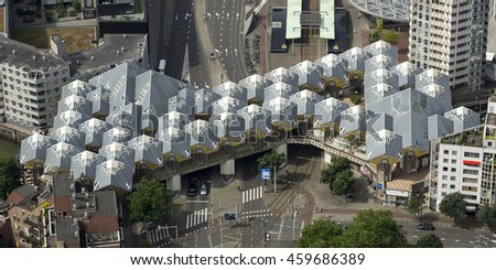 7 July 2016, Rotterdam. Aerial view of the famous KUBUSWONING cube houses, designed by Piet Blom. They represent a village in which each house is a tree, together they are called the Rotterdam Forest.