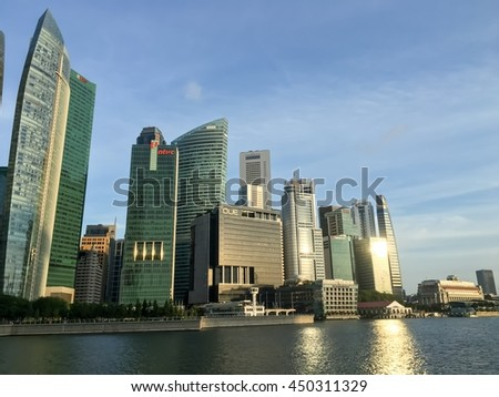 9 July 2016, Singapore; View from Marina bay sands to Business high rise buildings grow up full on land area center zone is a landmark in Singapore.