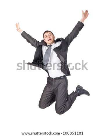 jumping business man isolated on white background - stock photo