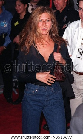 "08JUN98:  ""Friends"" star JENNIFER ANISTON at premiere of ""Six Days, Seven Nights,"" which stars Harrison Ford, Anne Heche & David Schwimmer. - stock photo"