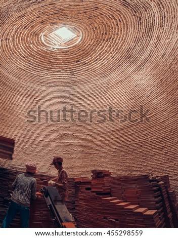23 Jun 2016: Inside traditional brick oven (brick kiln) in Sadec, Dong Thap province, Vietnam