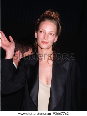 05JUN97:  UMA THURMAN at Gucci fashion show to benefit AIDS Project Los Angeles. - stock photo