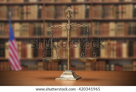 ?Justice Scale on wood table