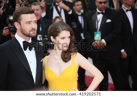Justin Timberlake,  Anna Kendrick attend the 'Cafe Society' premiere and the Opening Night Gala during the 69th Cannes Film Festival at the Palais des Festivals on May 11, 2016 in Cannes, France. - stock photo