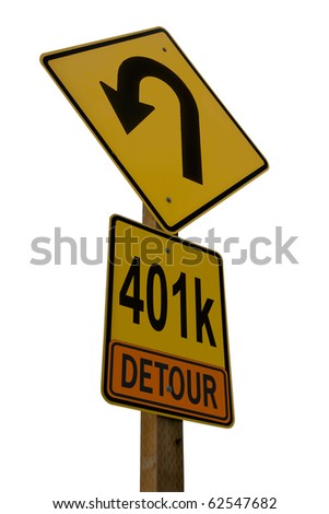 401k Detour Road Sign isolated on white background conceptualizing setbacks on the road to retirement. - stock photo