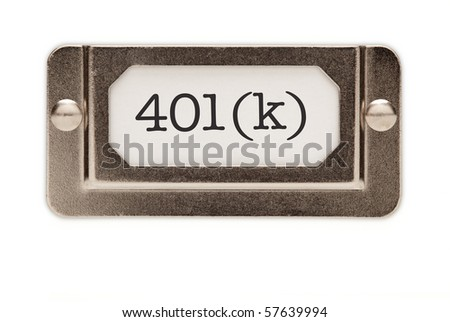 401(k) File Drawer Label Isolated on a White Background. - stock photo