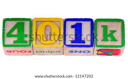 401K for savings plan written using antique wooden blocks - stock photo