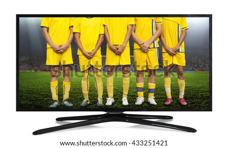 4k monitor isolated on white. the players formed a wall to protect the gate from the penalty spot - stock photo
