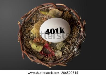 401K nest egg in cozy nest. - stock photo