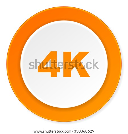 4k orange circle 3d modern design flat icon on white background