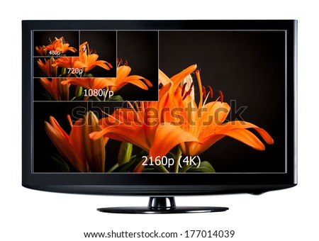 4K television display with comparison of resolutions. Ultra HD on on modern TV - stock photo