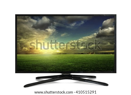 4k Television sky or monitor landscape isolated on white background.