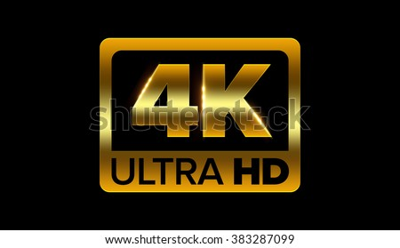 4k ultra hd icon with clipping path