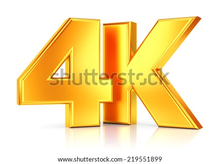 4K ultra high definition television technology golden logo icon isolated on white background with reflection effect - stock photo