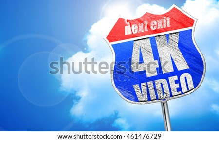 4k video, 3D rendering, blue street sign